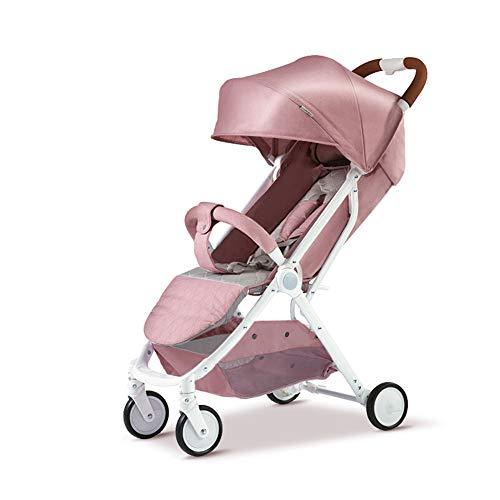 ALIFE Kinderwagen Falten Leichter Regenschirm Auto Hohe Kinderwagen Landschaft Kinder Jogger Buggy Baby Puppe Kinderwagen,Pink