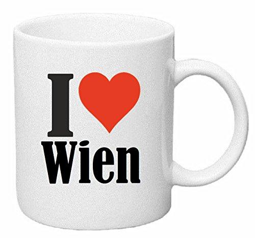 Reifen-Markt Kaffeetasse I Love Wien Keramik Höhe 9,5cm ? 8cm in Weiß