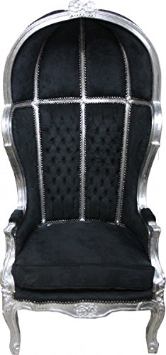 Casa Padrino Barock Thron Sessel Victory Schwarz/Silber - Balloon Chair -Thron Stuhl Tron