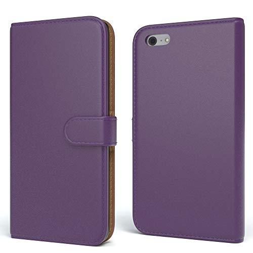 EAZY CASE Tasche für Apple iPhone 5C Schutzhülle mit Standfunktion Klapphülle im Bookstyle, Handytasche Handyhülle Flip Cover mit Magnetverschluss und Kartenfach, Kunstleder, Lila (Case 5c Wallet Iphone Leder)