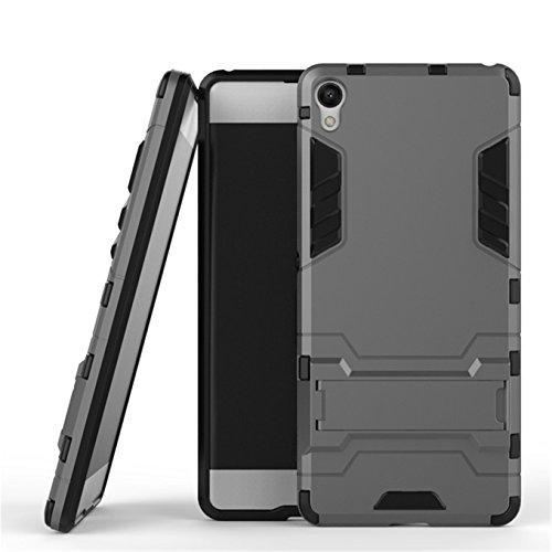 AyiHuan Sony Xperia XA (5 Zoll)Hülle, [Outdoor] [Fallschutz] [Dual Layer] Ultra-dünne Bumper und Stoßfest Schutzhülle Case Cover mit Ständer für Sony Xperia XA,Grau
