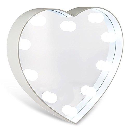 Hc-handel 924028in plastica specchio cuore con 10leds incorniciato 23,5x 5cm bianco