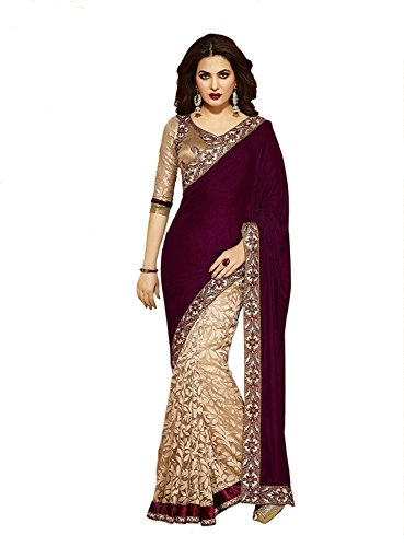 Purva Art Girls Maroon Velvet & Chikoo Brasso Net Saree (3132_New_Maroon Velvet Sarees For Indian Wear)