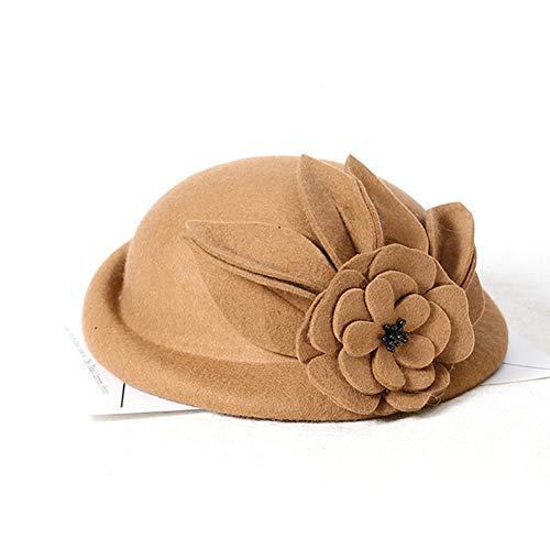 LAIKASHI Wolle Baret Neue Wolle Herbst und Wintermaler Hut Schwarze Mode Hut,Kamel