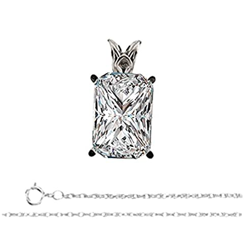 Radiant Diamond Solitaire Pendant Necklace 14CT White Gold ( 0.48 Ct, I, VS1 GIA Certified)