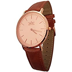 Mens SLIM CLASSIC WATCH by Softech with Presentation GIFT BOX - Finishes Every Outfit With Gold Case and Faux Tan Leather On Trend Designer Strap