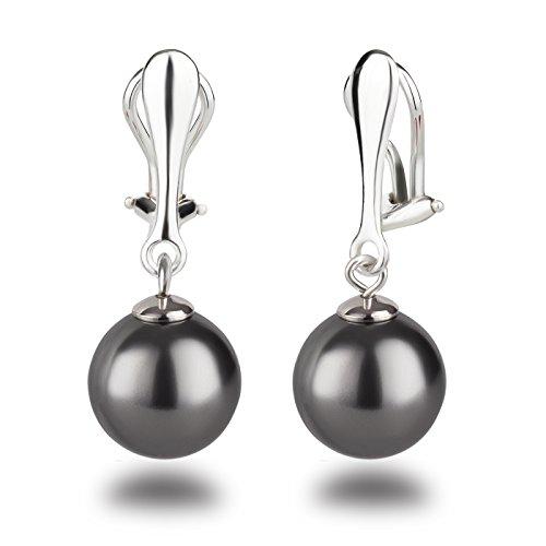 Schöner-SD Perlen Ohrclips Hänger Clip Ohrringe 925 Silber mit runden Perlen dunkel-grau