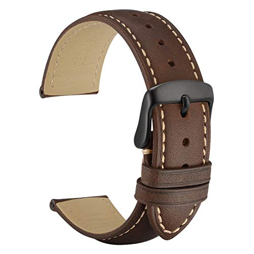 WOCCI 20mm Leather Watch Strap with Black Buckle, Vintage Style, Replacement Band (Dark Brown)