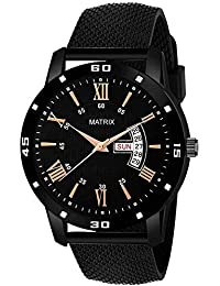 "Matrix ""Mesh Collection"" Day & Date Wrist Watch for Men & Boys (Black)"