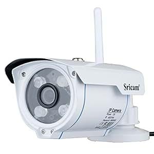 Sricam SP007 Telecamera di Videosorveglianza Wireless, Controllo Remoto Tramite App, 720p, IP66, Supporta Microsd Fino a 128 GB, 12 V, White, 1, Set di 3 Pezzi