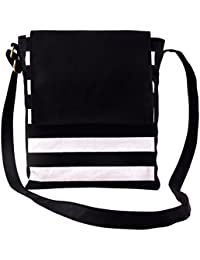 Mabel Kaley Black Convas Striped Sling Bag With PU Flap