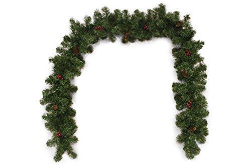 Galileo Casa Festone, festone natalizio da 270 cm con 180 rami, bacche e pigne