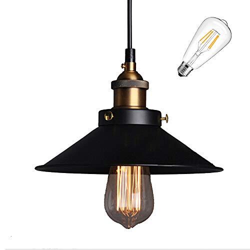 E27 Métal Retro Suspensions Luminaires Vintage Plafonniers Luminaire Plafond Lustre Edison de Culot E27 Suspensions Eclairage de Plafond Noire Suspensions Luminaires Lampe avec 1 ampoule filament LED