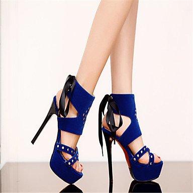 LvYuan Sandali-Formale Casual Serata e festa-Alla schiava Club Shoes-A stiletto-Velluto-Nero Blu Rosso Black