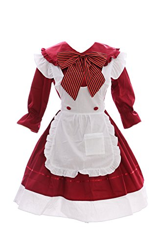 JL-634 ROT Maid Zofe Anime Zimmermädchen Gothic Lolita Kleid Set Kostüm Cosplay (EUR (Gothic Maid Kleid)