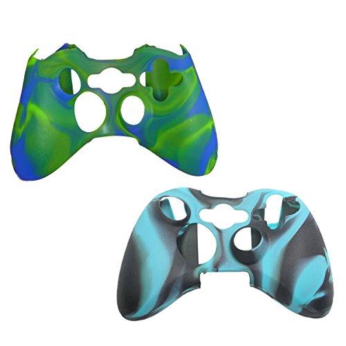 2Pack Set Silikon Skin für Xbox 360Konsole Controller-Silikon Schutzhülle für Xbox 360Controller Case-Premium Super Grip Xbox 360Silikon Haut Zubehör zu schützen Ihre Kontrolle BLKBLU-GRNBLU