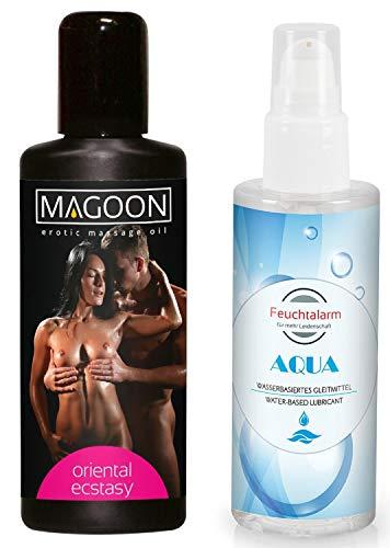 Massage Set Massageöl Sexöl Erotiköl Öl Körperöl (100ml) mit Duft und ein Gleitgel Gleitmittel (100 ml) von Feuchtalarm für Vorspiel Intim-Bereich Vagina Penis Body Sex Erotik Tantra Stimulation (Sex Massage Für)