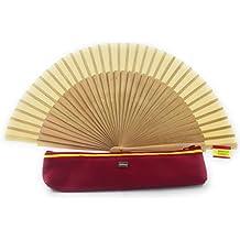 Zerimar Fundas fabricadas en piel para abanicos u otros usos Incluye bonito abanico Color de funda rojo.