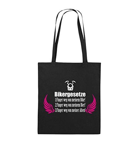 Comedy Bags - BIKERGESETZE - FLÜGEL - Jutebeutel - lange Henkel - 38x42cm - Farbe: Navy / Beige-Hellgrün Schwarz / Weiss-Pink