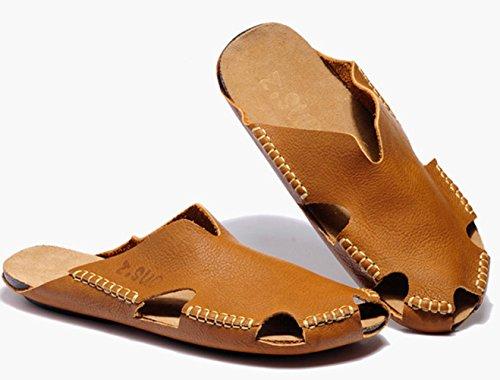 Insun Homme Sandales Cuir Plat Plage Cousues Sandales Bout Fermé Mules Chaussures Marron