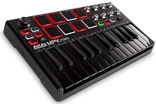 Akai Professional MPK Mini MKII LE Black - Portables 25 Tasten USB MIDI Keyboard, 16 hintergrundbeleuchteten Performance Ready Pads, 8 Q Link Regler, Vier Wege Thumbstick, VIP 3.0, Software Paket