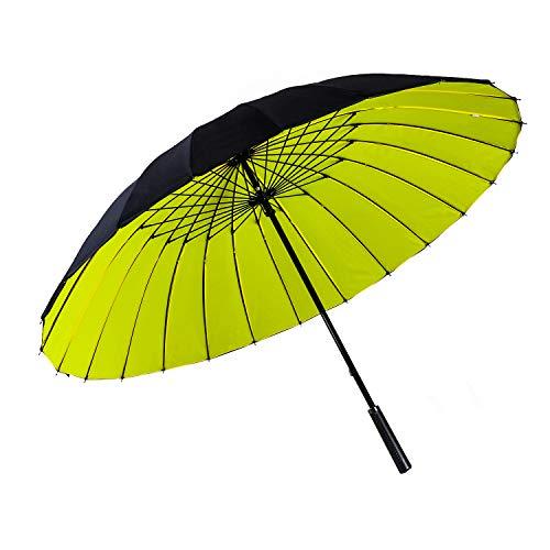ThreeH Viaje Negocio Paraguas De Golf Doble Dosel A Prueba De Viento Automático Abierto Extra Grande Paraguas KS12,Yellow