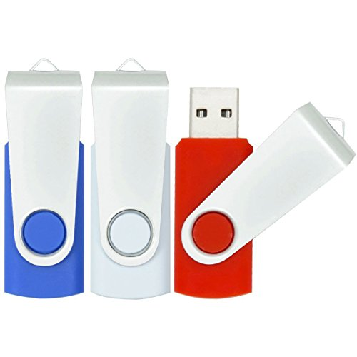 USB Stick 16GB, 3 Stück USB-Stick 16GB Speicherstick 2.0 Mini Rotate Metall Pack (Rot Weiß Blau)
