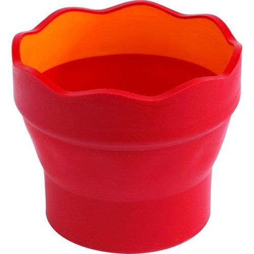 Faber-Castell 181517 - Wasserbecher CLIC & GO, faltbar, Rot