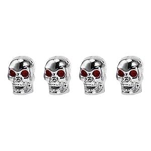 in Silber f/ür Motorrad Skull v2 2er Set Ventilkappen