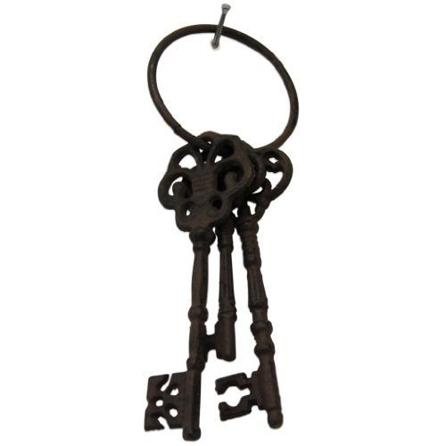 Homescapes Novelty Vintage Cast Iron Set of 3 Keys Garden Ornament Home Accessory Ornate Key Ring