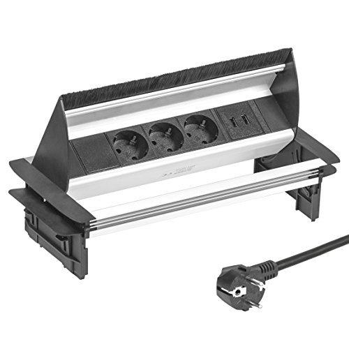 Elbe versenkbare Einbausteckdose mit usb, 3 fach Tishcsteckdose mit 2 USB Anschlüsse versenkbar, Steckdosenleiste aus Aluminium in schwarz-grau Optik mit Bürstenleiste, 1,5m Anschlusskabel, für Büro-, Küchen- und Arbeitsflächen_EL4403U