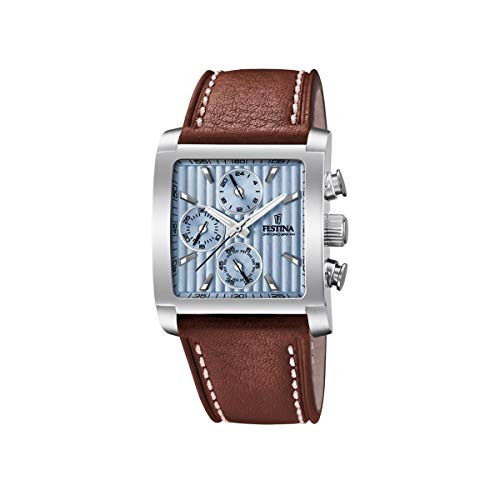 Festina Herren Chronograph Quarz Uhr mit Leder Armband F20424/1