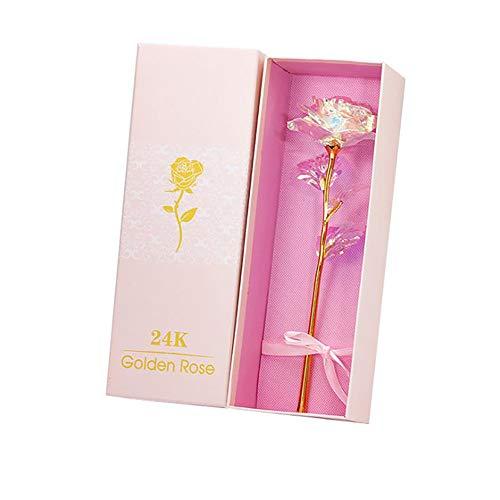 Lemonmax 24K Colorida Rosa Artificial Flor Día de San Valentín Acción de Gracias Día de la Madre Cumpleaños de Las niñas, los Mejores Regalos para Ella para su Novia Esposa Mujeres