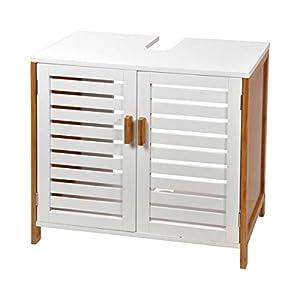MaisonMaligne Mueble Lavabo Madera Bambú y MDF – Mueble Baño Auxiliar con 2 Puertas Ideal para Organizar Toallas – Color Negro – Medidas 60 x 30 x 60 cm