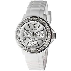 Nuvo - NU 135 - Armbanduhr für Damen - Quartz - Analog - Weißes Armband aus Silikon - Swarovski Elemente und Diamanten - Modisch - Elegant - Stylish -