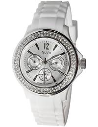 Nuvo - NU135 - Montre Femme - Quartz - Analogique - Bracelet Silicone Blanc - Swarovski elements et diamant