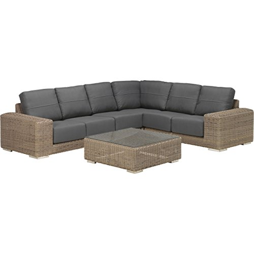 4Seasons Outdoor Kingston 5-teilige Sitzgruppe mit Tisch Polyrattan Pure