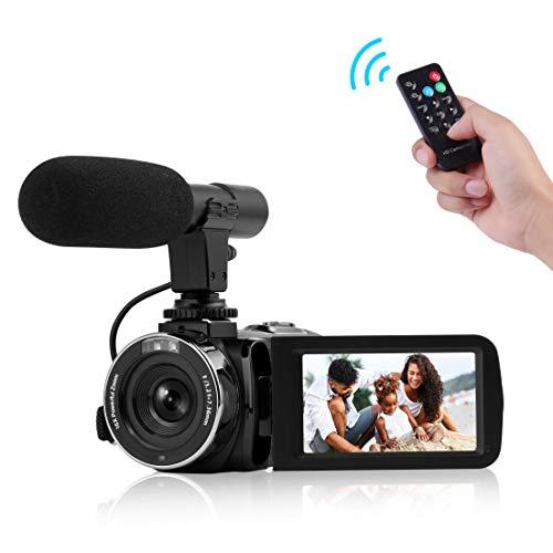 """Camcorder Digital-Videokamera, Camcorder mit Mikrofon WiFi IR Nachtsicht Full HD 1080P 30FPS 3"""" LCD Touchscreen Vlogging Kamera mit Fernbedienung"""