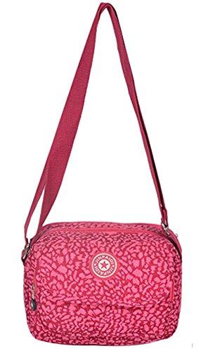 Genda 2Archer Piccolo Mini Multi-pocket Borsetta Pouch Spalla Crossbody della Borsa per Adolescenti Ragazze (Rosa) Rosa con leopardo