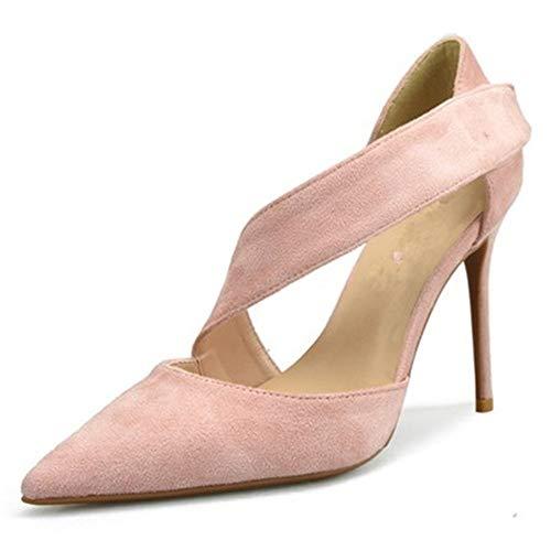 Schuhe Mode Pointed Toe D'orsay Pumps für Damen Kleiderschuhe Kunstleder Wildleder Seitenknöchelriemen Hohe Stilettos: Spitz, Klassische Slip-On-Pumps ( Color : Nude 8 cm Heel , Size : 36 EU ) -