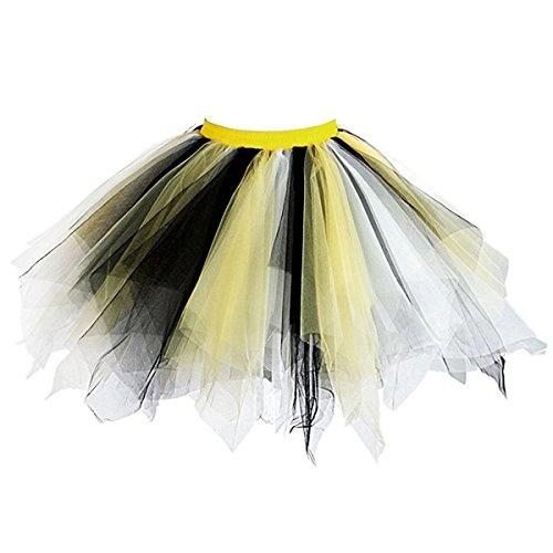 Honeystore Damen's Neuheiten Tutu Unterkleid Rock Ballet Petticoat Abschlussball Tanz Party Tutu Rock Abend Gelegenheit Zubehör Schwarz Gelb und ()