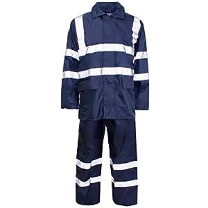 Conjunto de trabajo de lluvia MyShoeStore®, unisex, de alta visibilidad, con capucha, con chaqueta y pantalones, impermeable, PVC, talla S a 4XL, juego de 2 piezas