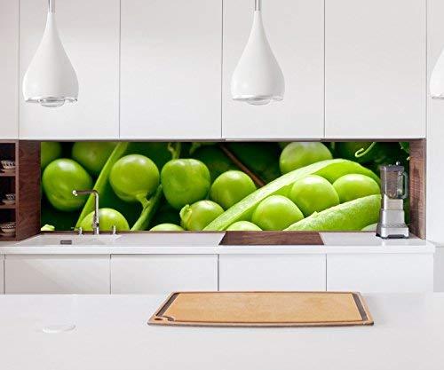 Aufkleber Küchenrückwand Erbse Obst Gemüse Essen Küche grün Folie selbstklebend Dekofolie Fliesen Möbelfolie Spritzschutz 22A456, Höhe x Länge:60cm x 200cm