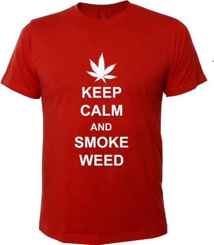 Mister Merchandise Cooles Fun T-Shirt Keep Calm and Smoke Weed Rot