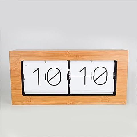 bambú automáticamente flip reloj del reloj creativo reloj de mesa retro minimalistas relojes de madera sala de estar Reloj de pared de los relojes