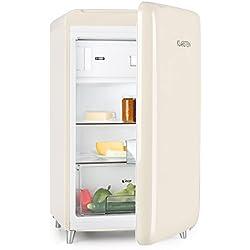 Klarstein PopArt Cream • réfrigérateur • pose libre • années 50 • 108 l • congél. 13 l • rapide • compartiment légumes • 2 x clayettes • porte bouteilles • bac à oeufs • porte vers la droite • crème