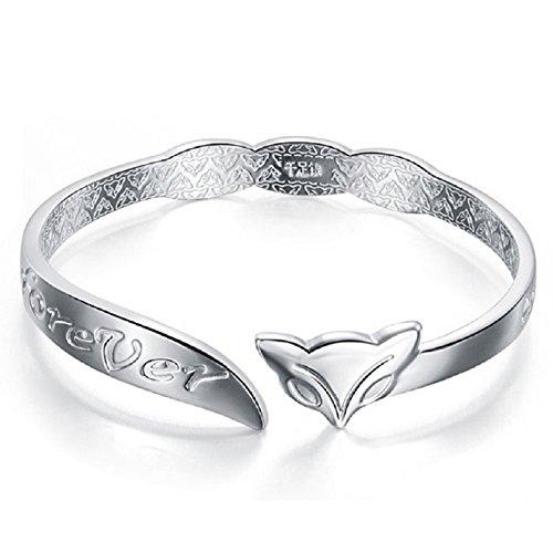 Mxixi mode féminine argenté manchette bracelet bracelet bracelet ronde simple bijoux style design pour cadeau d'amour (Couleur 2)