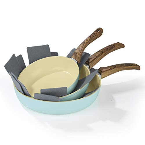 Bratmaxx Juego de Sartenes 00461| Sartenes de Cerámica, 20cm, 24cm, 28cm, para Todos los Tipos de Cocina (con Inducción) | backofengeeignet Lavavajillas