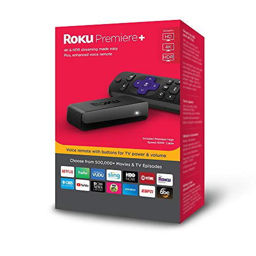 Roku Premiere+ 3921RW 4K HD HDR Media Streamer with Enhanced Voice Remote 2018 ...
