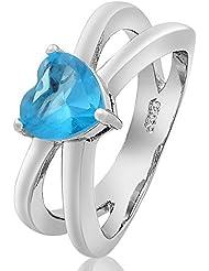 Coraz¨®n Mujer Joyer¨ªa Corte Aguamarina Topacio oro blanco plate¨® el anillo 6 M
